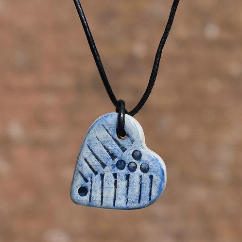 Blue Heart Drop Ceramic Necklace