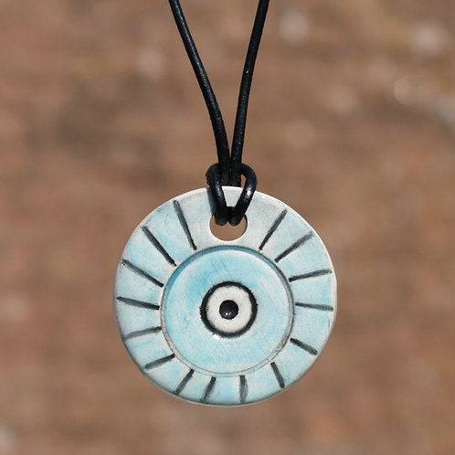 Sky Blue Circle Rustic Ceramic Necklace