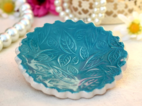 Teal Scalloped Edge Trinket Dish
