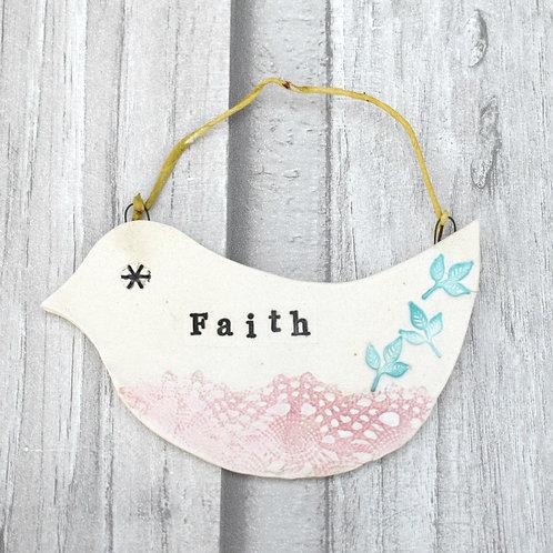 Inspirational Ceramic Bird- Faith