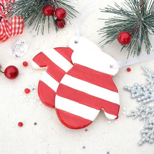 Ceramic Stripy Christmas Mitten Set