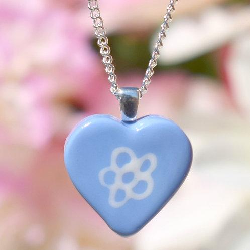 Sky Blue Little Daisy Heart