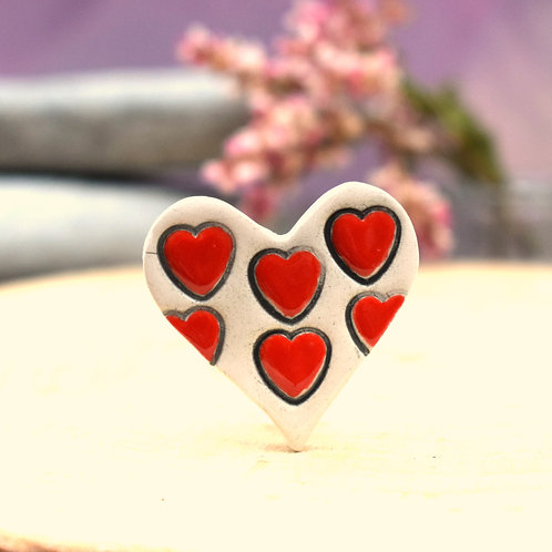 Little Red Hearts Brooch