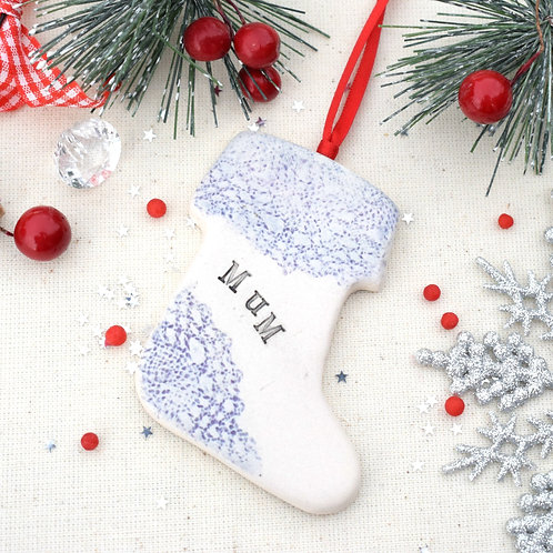Hand Stamped Stocking Decoration
