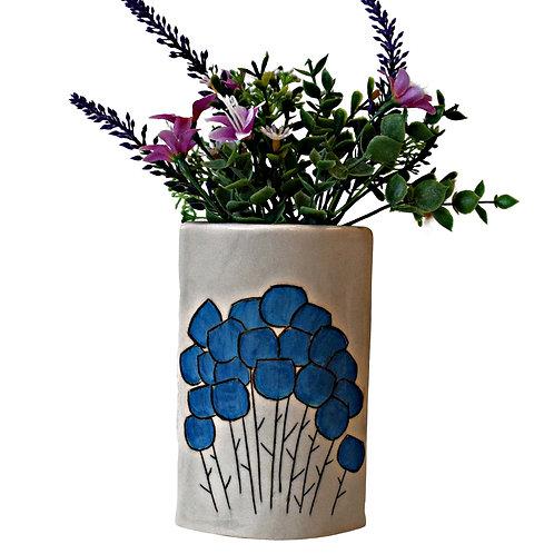 Sgraffito Bloom Narrow Vase Cornflower
