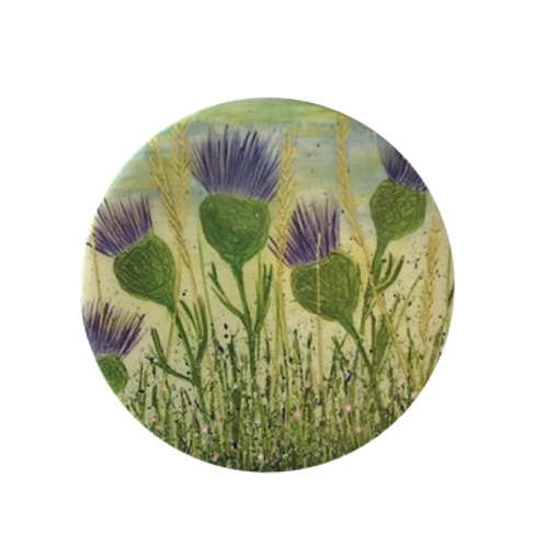 Dancing Thistles Ceramic Coaster