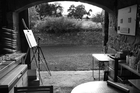 Inside looking out of the studio