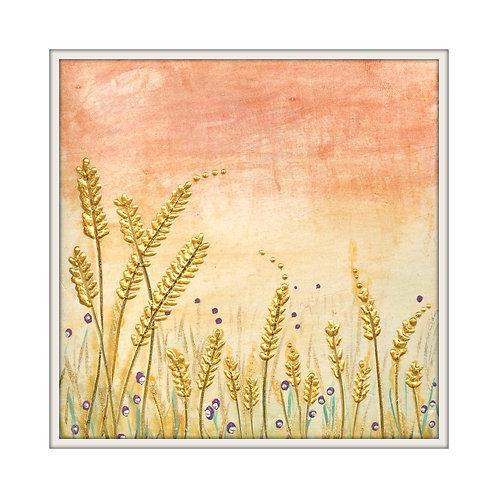 Sunset Barley Mounted Art Print