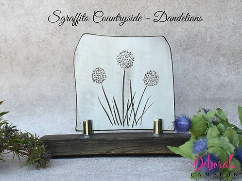 Sgraffito Ceramic Art-Dandelions