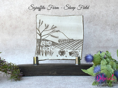 Sgraffito Ceramic Art-Sheep Field