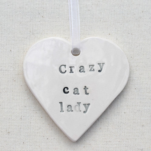 Ceramic Cat Lady Heart