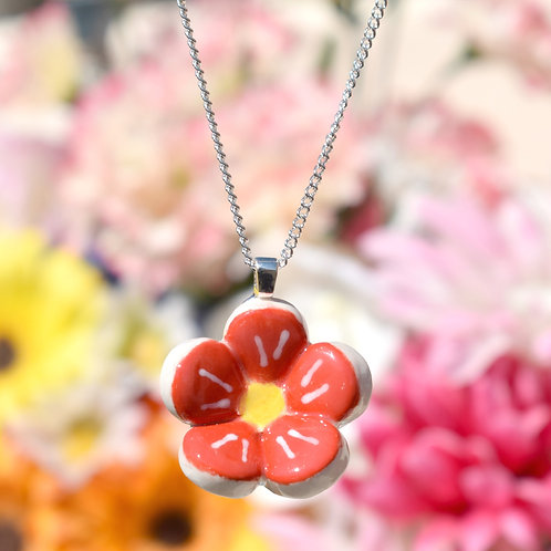 Red Little Flower Necklace