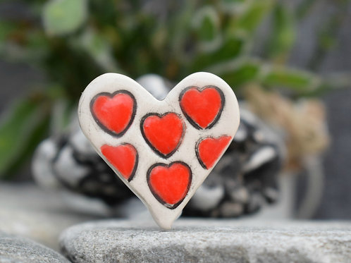 Rustic Red Hearts Brooch