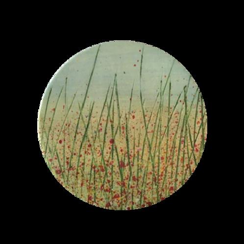 Wildflower Poppy Field Ceramic Coaster