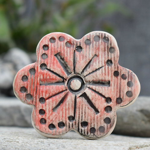 Red Rustic Flower Brooch