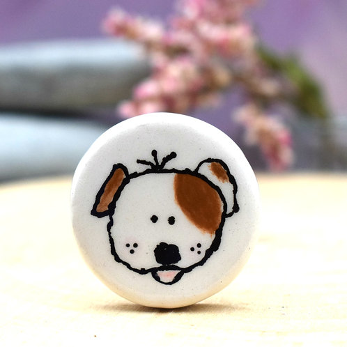 Little Patch Dog Illustrated Brooch