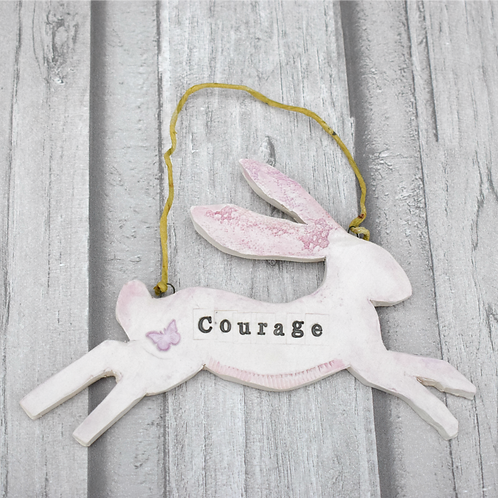 Inspirational Mixed Media Ceramic Hare - Courage