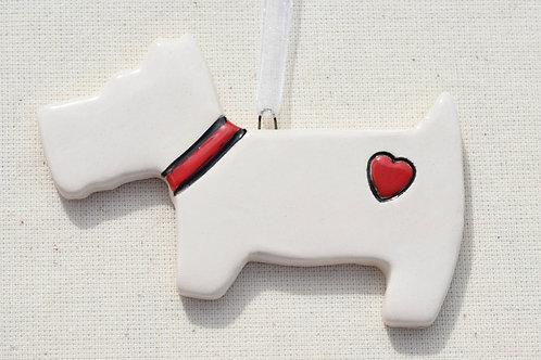 Ceramic Westie Red Heart Dog