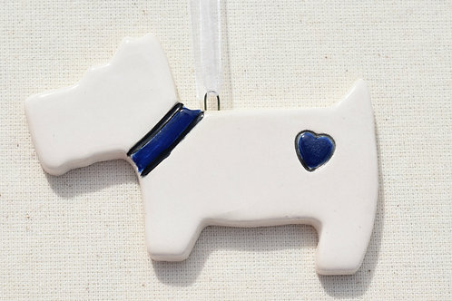 Ceramic Westie Blue Heart Dog