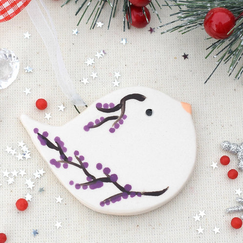 Ceramic Purple Twigs and Berries Song Bird