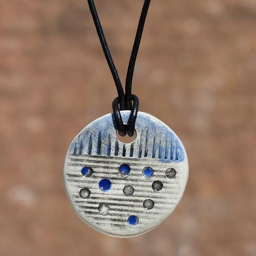 Blue Round Rustic Ceramic Necklace