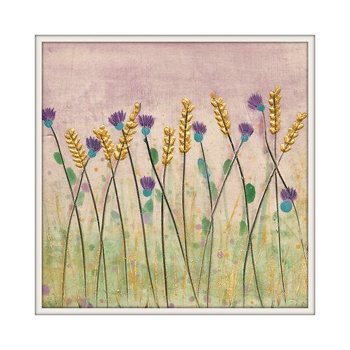 Thistles and Barley Mounted Art Print