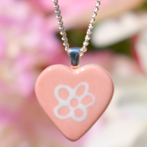 Pink Little Daisy Heart Necklace