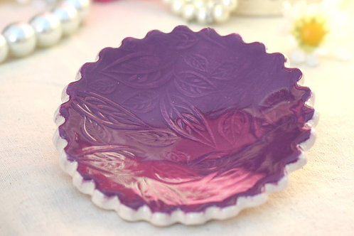 Deep Purple Scalloped Edge Ceramic Trinket Dish