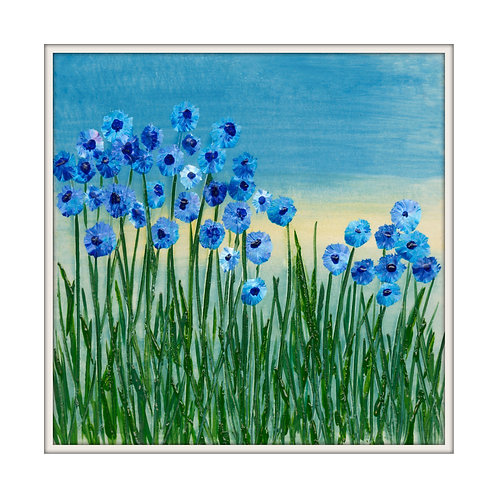 Forget me not meadow Mounted Art Print