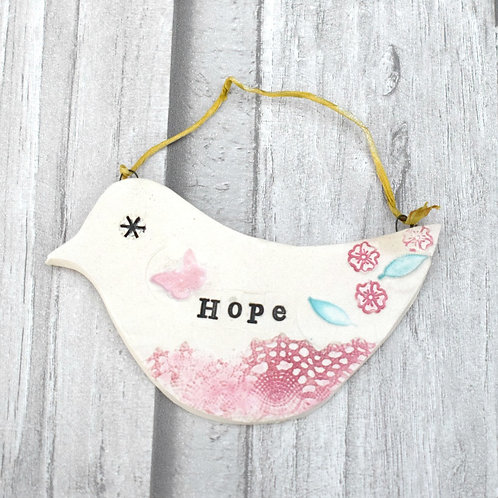 Inspirational Ceramic Bird- Hope
