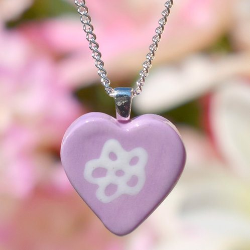 Lilac Little Daisy Heart Necklace