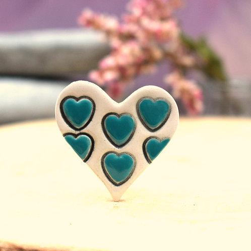 Little Teal Hearts Brooch