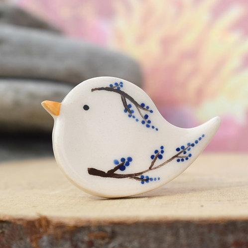 Little Bird Brooch Blue Twigs and Berries