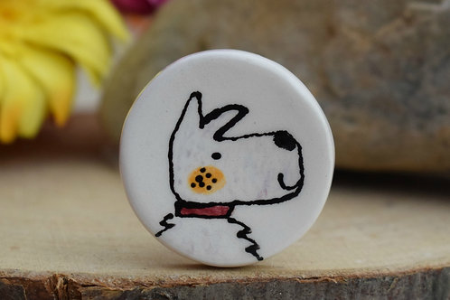 Little Westie Dog Illustrated Brooch