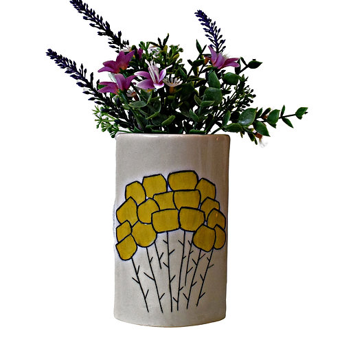 Sgraffito Bloom Narrow Vase Buttercup