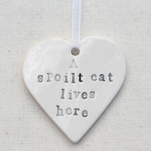 Ceramic Spoilt Cat Heart