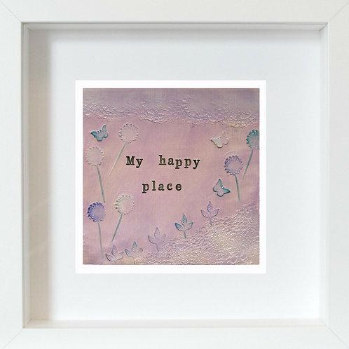 My Happy Place Framed Mixed Media Art Print