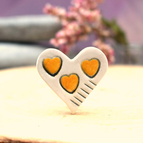 Little Saffron Hearts Brooch