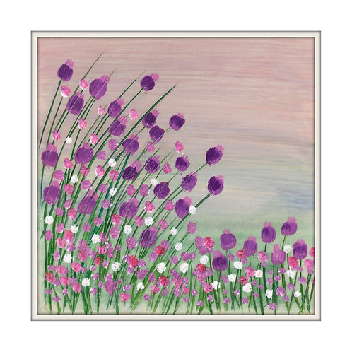 Purple blooms Mounted Art Print
