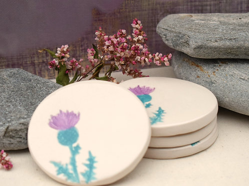 Little Thistle Round Coasters x4