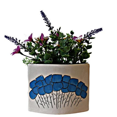 Sgraffito Bloom Low Vase Blue