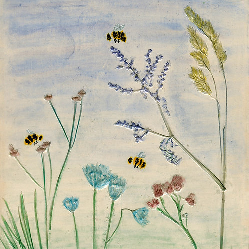 Bumble Bee Meadow Mounted Art Print
