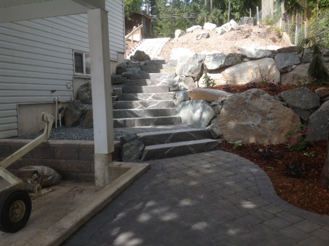 With rock stairs