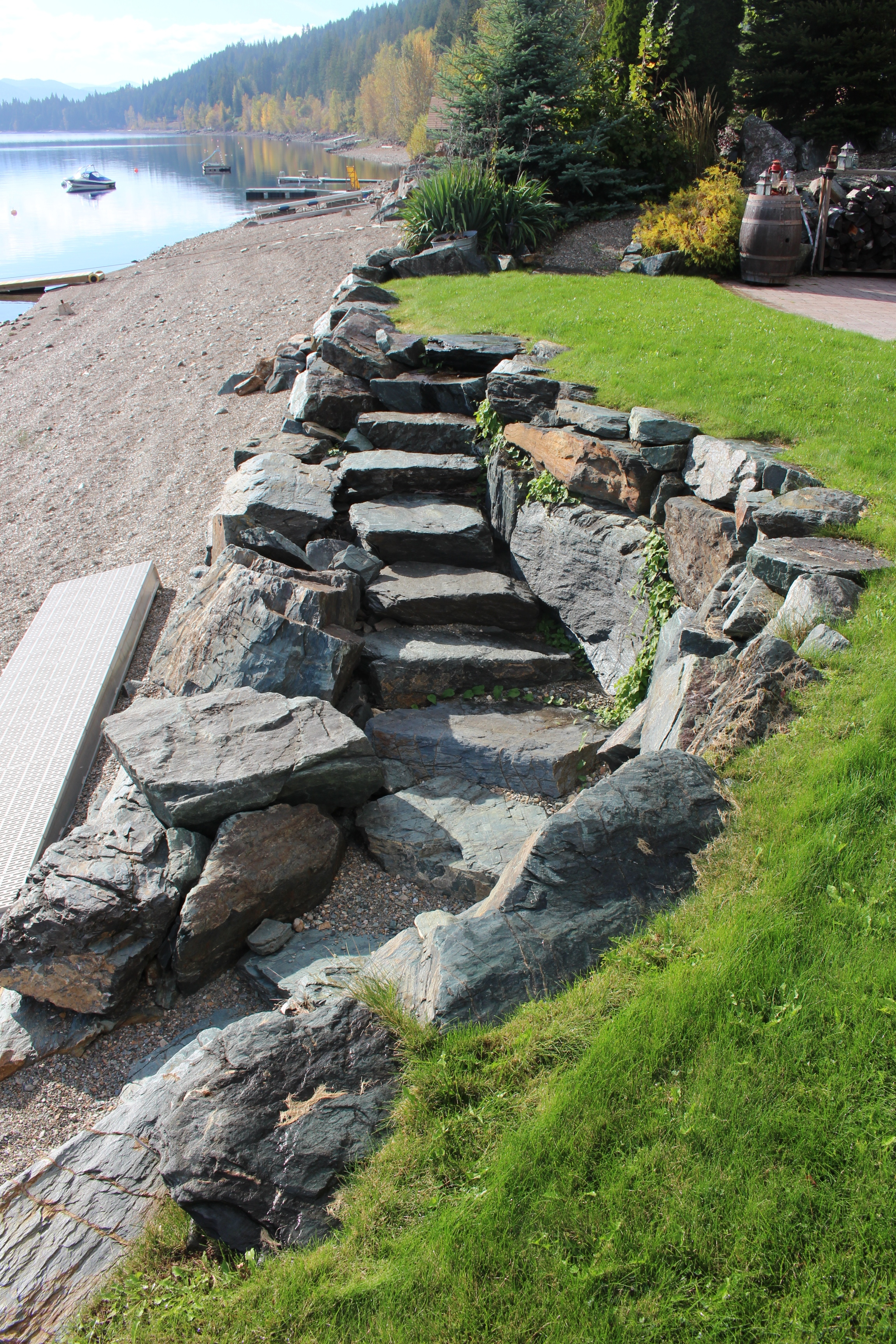 Rock stairs down to lake