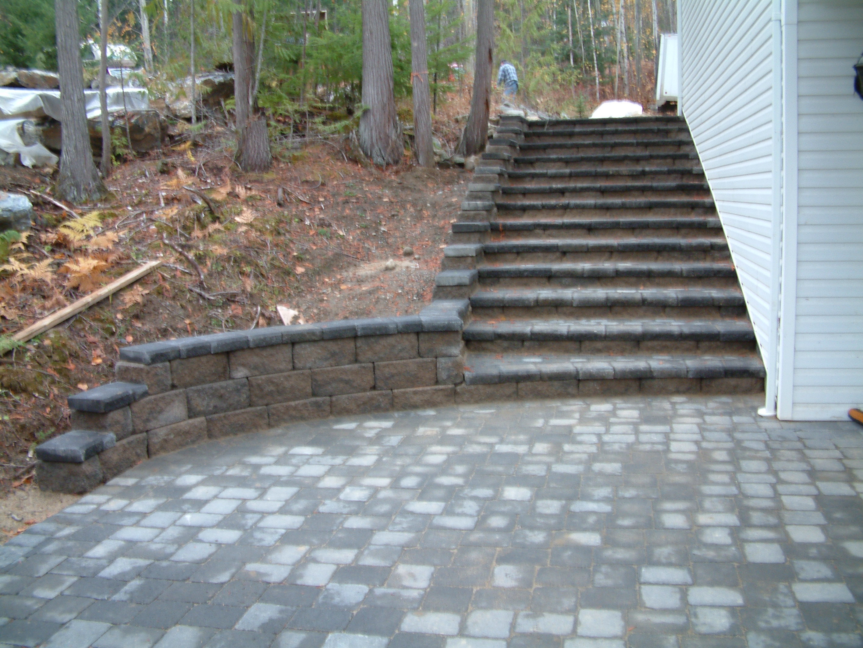 Stairs using Allan Block and pavers