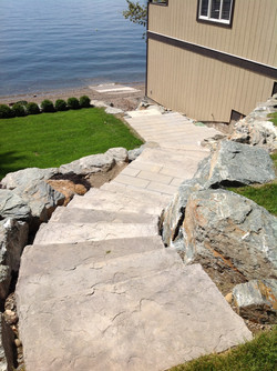 Cement slab stairs