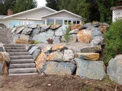 Terraced Rock Retaining Wall