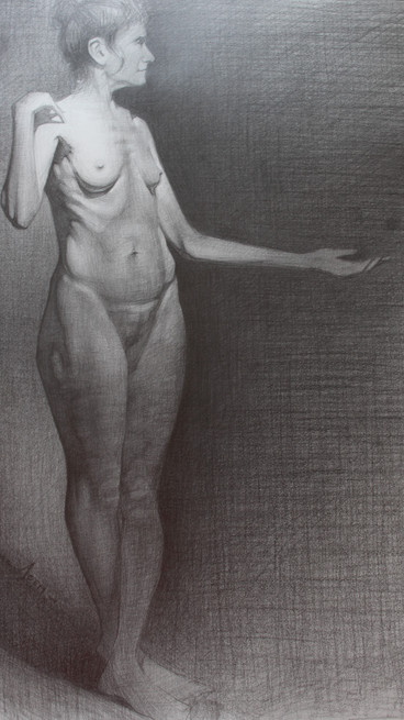 Female Nude. 18x24in. Pencil on paper, 2