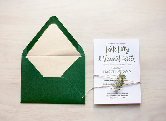 Rella Wedding Invitation with Real Wood Envelope Liner