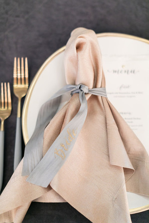 Custom Menus & Hand-lettered Place Setting Ribbon Ties